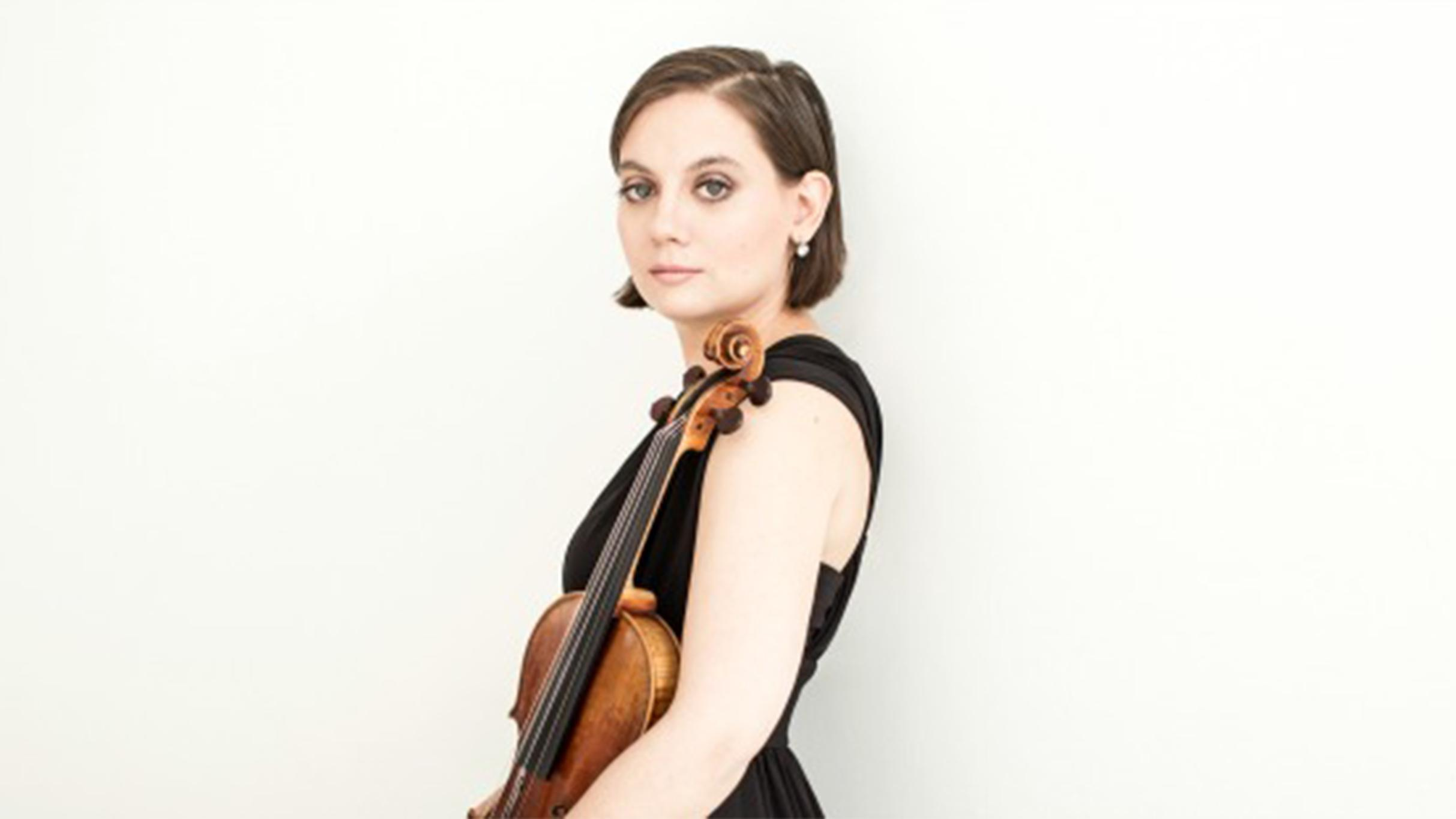Francesca Anderegg with violin.